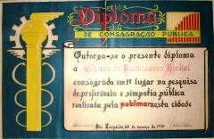 Radiadores bickel - diploma dos anos 70, na administração do fundador da empresa.