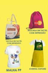 Camisas Promocionais 100% Poliéster, Mochilas em Tactel, Sacolas Ecobags