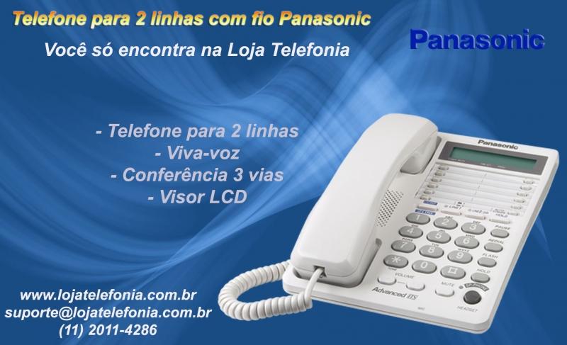 Telefone para 2 Linhas - c/ Viva Voz, Conferencia e Retenção de Chamadas- Marca: Panasonic. Com apenas um Telefone para 2 Linhas você é capaz de gerenciar duas Ligações ao mesmo tempo, proporcionando muito mais conveniência e eficiente para você gerir as suas chamadas.