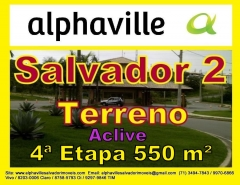 Terreno bem localizado na 4ª etapa de Alphaville Salvador 2, escriturado, em ilha, com vista panorâmica para reserva do condomínio.  Topografia em médio aclive, pode ser conferido nas fotos.  Tem 550 metros sendo 15 de frente. Venha visitar e confira!!!! Mais detalhes entre em contato com: Claudio Borges. +55(71)3494-7843 +55(71)99970-6866 Vivo +55(71)98203-0006 Claro +55(71)99297-9846 TIM +55(71)98758-5793 Oi +55(71)99911-1102 WhatsApp