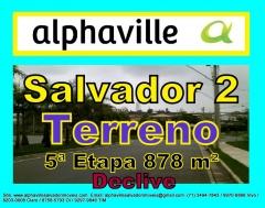 Lote residencial, escriturado, em declive localizado no setor 5, Alphaville Salvador II, com área de 878 m² com fundos para reserva permanente.  O Alphaville Salvador 2 tem um dos melhores sistemas de segurança do Brasil, com um modelo de ocupação de baixa densidade.Mais detalhes entre em contato com:  Claudio Borges. +55(71)3494-7843 +55(71)99970-6866 Vivo +55(71)98203-0006 Claro +55(71)99297-9846 TIM +55(71)98758-5793 Oi +55(71)99911-1102 WhatsApp