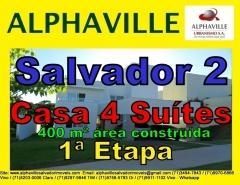 Casa Alphaville Salvador 2, 4 Suítes, 1ª Etapa, 400 m² Casa localizada no setor 1 de Alphaville Salvador 2, com 2 pisos, 2 salas sendo sala do 1º piso para 3 ambientes, 4 suítes, sendo suíte máster com closet, piscina com espaço gourmet, cozinha com armários, dependência completa, Área construída com 400 m² e terreno com 573 m². Mais detalhes com:  Claudio Borges. +55(71)3494-7843 +55(71)99970-6866 Vivo +55(71)98203-0006 Claro +55(71)99297-9846 TIM +55(71)98758-5793 Oi +55(71)99911-1102 WhatsApp