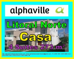 Casa a venda Alphaville Litoral Norte 2, 273 m². Casa com 4 suítes, sala para 2 ambientes, varandas, cozinha ampla, dependência, 4 vagas. Casa recém construída, pronta para morar. Venha conferir nossa qualidade de prestação de serviços. Obrigado pela oportunidade de servi-lo (a).   Mais detalhes entre em contato com:  Claudio Borges.  +55(71)3494-7843 +55(71)99911-1102 WhatsApp