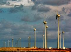 Produção de energia eólica.
