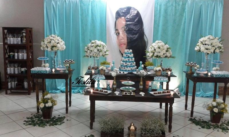 Foto Decora 231 227 O De Festa De 15 Anos R 250 Stica Azul Tiffany