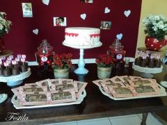 Decoração de chá de panela - vermelho rústico