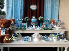 Decoração de chá de bebê - marrom e azul ursinho