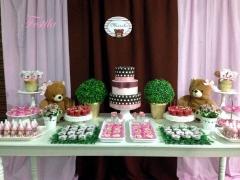 Decoração de chá de bebê - marrom e rosa ursinhas