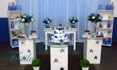 Decoração de festa de 15 anos azul - decoração provençal clean