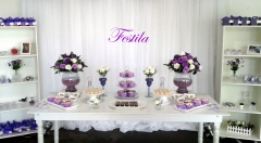 Decoração de festa de 15 anos  provençal branco e lilás