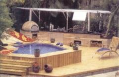 Deck, piscina, spa, churrasqueira, forno de pizza, bella telha www.bellatelha.com.br 11-4555-5444[ projeto do arquiteto arnaldo muzio jr