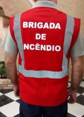 Colete refletivo para brigada de incêndio em brim vermelho