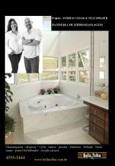 Banheira, banheira com hidromassagem, spa, ofuro, sauna, lareira e churrasqueira vc encontra na bella telha 11-4555-5444. este belissimo projeto é de andreia cezar e tele sphaier