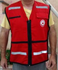 Colete para socorrista em brim vermelho, com refletivo