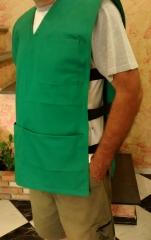 Colete de brim com bolso canguru e el�stico lateral, modelo unissex