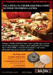 Faz pizza na churrasqueira, este kit � pratico e a pizza fica com gosto de forno a lenha