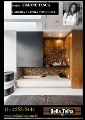 Lareiras, lareira a lenha, varanda com lareira, lareira de apartamento, lareira a lenha com coifa . na bella telha vc encontra todas as opções de lareiras. projeto de simone tasca