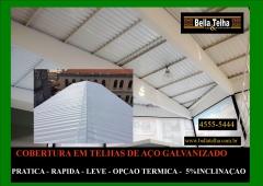 Coberturas construidas com telhas galvanizadas são funcionais e praticas. a bella telha trabalha com coberturas também em telhas ceramicas, churrasqueiras, fornos de pizzaria, telhas de concreto, lareiras, banheiras e muito mais