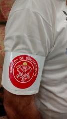 Braçadeira brigada de emergência impermeável com fechamento em velcro