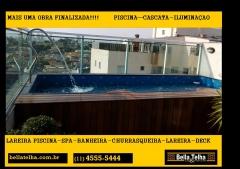 piscina em vinil, a Bella Telha trabalha com piscinas em geral, acessorios, aquecimento para piscina, ilumina��o para piscina, deck, casa de maquinas, cascatas, sauna e muito mais