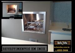 o revestimento em inox deixa a churrasqueira linda. revestimento em inox, revestimento para churrasqueira, grill para churrasqueira, churrasqueira, grelha, motor