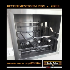 revestimento em inox, revestimento para churrasqueira, grill para churrasqueira, churrasqueira, grelha, motor