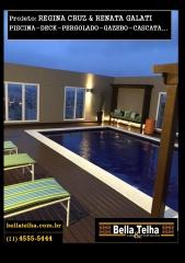 Pliscina, deck, cascata, gazebo, pergolado. as cascatas dão um charme especial a sua piscina. na bella telha vc encontra também a iluminação da piscina e o aquecimento da piscina que pode ser aquecimento por trocador de calor, aquecimento solar para piscina ou aquecimento a gás. também trabalhamos com churrasqueiras, banheiras, lareiras , forno a lenha, telhado, sauna e muito mais. fale conosco