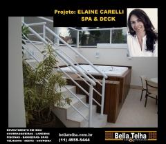 Spa, spa com deck, relaxamento, sofisticação, area de lazer, banheira de hidro, projeto da arquiteta elaine carelli