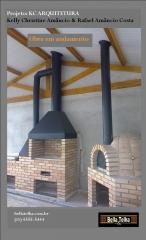 Churrasqueira, forno a lenha, fogão a lenha, projeto da kc arquitetura