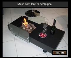 Mesinha ecoloigica, lareira acesa, mesa com lareira, lareira embutida em mesinha de centro, bella telha www.bellatelha.com.br 11 4555-5444
