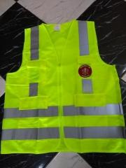 Colete para brigada de incêndio em tecido tactel amarelo fluor, com refletivo