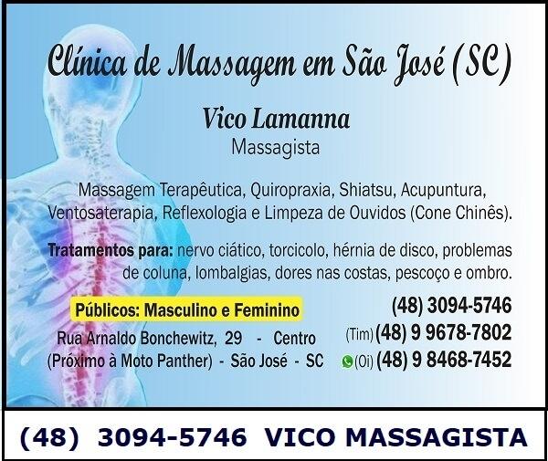 Vico Massagista e Quiropraxia, São José SC, nervo ciático, hérnia de disco, bico de papagaio, tendinite, bursite, torcicolo, mau jeito, dor nas costas, coluna, lombar, ombro, pescoço, joelho - Vico Massagista e Quiropraxia