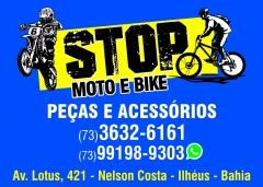 Moto e bike em ilhéus - peças e acessórios para motos e bikes - e para melhor lhes atender temos oficina própria- stop moto & bike na compra da peça a mão de obra é grátis. aceitamos cartões.- 73 3632 - 6161 / 99198 - 9303 zap av. lotos nº 421 - nelson costa - ilhéus - ba.