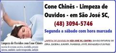 Cone Chinês-Limpeza de Ouvidos em São José SC de segunda a sábado com hora marcada  Cone Chinês -  Limpeza de Ouvidos em São José SC de segunda a sábado com hora marcada - Dé Schmitz - Terapeuta trabalhando há mais de 25 anos na área, desde sua formação na Pastoral da Saúde em São Paulo SP.  ENDEREÇO DE : Rua Arnaldo Bonchewitz, 11 - Centro - São José SC  AGENDAMENTO E INFORMAÇÕES:   (48) 99131-9240  - Whatsapp e Telefone de contato  A técnica de limpeza, desobstrução e purificação do canal dos ouvidos com cones ou canudos é uma sabedoria muito antiga . Hoje, os Cones de Ouvido são utilizados em todo o mundo como uma terapia alternativa tanto em adultos ou crianças. O tratamento é indolor, trazendo uma sensação agradável e satisfatória.