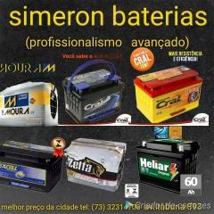 SIMERON EM ILHÉUS - SERVIÇOS OFERECIDOS Além de uma vasta diversidade de baterias, a SIMERON BATERIAS  oferece todos os produtos e serviços descritos abaixo:  Carregadores;  Cabos de Baterias;  Testes de Baterias;  Entrega de baterias em Domicílio.  FAÇA SEU PEDIDO PELO WHATSAPP (73) 99175 - 5874    É sempre recomendável fazer as revisões em uma oficina especializada e trocar a bateria apenas com mecânicos confiáveis e dentro do prazo estipulado pela montadora.    Nos temos um ótimo estoque de todas as marcas de baterias, por isso sugerimos o menor preço.    SIMERON BATERIAS  - Visite nossa Página.   https://uniaodemarca.wixsite.com/simeronbaterias