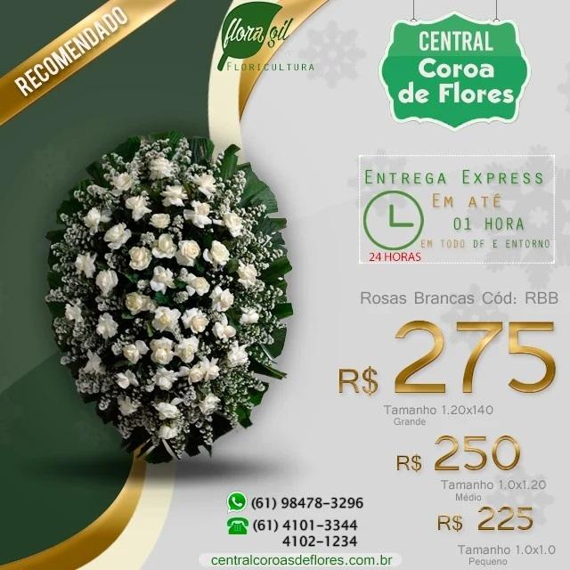 COROA DE ROSAS BRANCAS TAMANHO PADRÃO POR 250,00