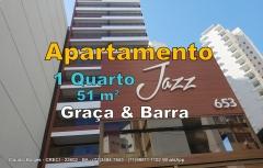 Jazz Residencial, Apartamentos 1 Quarto, Barra, Salvador. Apartamento de 1 suíte com lavabo, 51m², ampla varanda com 9,73 m², cozinha americana integrada com a sala e área de serviço.   Localizado, entre a Graça e a Barra, você pode ir caminhando à praia Porto da Barra, mercado, museus, praça, hospital e diversos tipos de serviços.   Inspirado no Jazz, manifestação artístico-cultural dos anos 20, o condomínio segue o conceito desse estilo trazendo criatividade, liberdade e a integração. As áreas de lazer foram projetadas e ambientadas para serem únicas, especialmente o Espaço Bourbon que une salão de festas, jogos e espaço gourmet num só ambiente e a Praça Armstrong com um projeto especial de paisagismo.  Características  Área Privativa: 51.66 Andares: 16 Área de Serviço Cozinha Americana Lavabo Varanda  Infraestrutura  Elevadores: 2 Espaço Gourmet Estacionamento Estacionamento para Visitantes Guarita Interfone Jardim Piscina Coletiva Playground Portaria 24h Sala Fitness Salão de Festas Sala de Jogos Segurança  Marque já sua visita e venha conhecer pessoalmente!!!!!  Mais detalhes entre em contato com:   Claudio Borges - CRECI - 22602 - BA  +55(71)3494-7843 +55(71)99911-1102 WhatsApp
