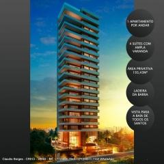Apartamento 4 Quartos, alto luxo, 193 m², Panorama Ladeira da Barra, Barra, Salvador Apartamento 4 Quartos, alto padrão, sendo todos suítes, ampla varanda, área privativa de 193,43 m², um Apartamento por andar, 3 vagas de garagem.  Piso do 1° Andar à 10,36 m do nível de acesso, ou seja, primeiro andar equivale ao 3° andar, pois temos além do térreo, o pavimento mezanino e o pavimento lazer.  A poucos passos do Yacht Clube da Bahia, o