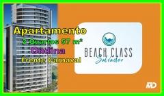 BEACH CLASS SALVADOR, Apartamentos 1 e 2 Quartos, Ondina  O Beach Class será construído no local onde era o Salvador Praia Hotel, em Ondina.  O Beach Class é composto por:  235 apartamentos de 01 e 02 quartos:  178 unidades de 1/4 que variam entre 28,47 m² e 45,00 m² 57 unidades de 2/4 que variam entre 56,96 m° e 67,28 m²  Vagas de garagem rotativas  Acesso à praia 12 apartamentos por andar  1 Vaga de Garagem  06 Elevadores 21 Pavimentos  FACHADA 100% Alumínio Composto  Infraestrutura COMPLETA  Pagamento em 52 meses ( Regime de condomínio)  O Beach Class oferece área de lazer com fitness, piscina, espaço gourmet, jardim, sala de reunião, coffee shop, lavanderia compartilhada, salão de festas e infraestrutura para implantação de serviços do tipo pay-per-use.  O projeto é assinado pelo arquiteto Ricardo Farias.  Venha conferir pessoalmente e marque sua visita agora!!!!!  Mais detalhes entre em contato: Claudio Borges - CRECI 22602 BA (71)3494-7843 (71)99911-1102 WhatsApp