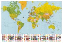 Mapa mundial político com bandeiras - komar importado