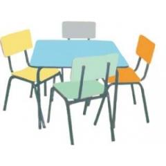 Conjuntos escolares mesa formica/ cad.formica/estofado