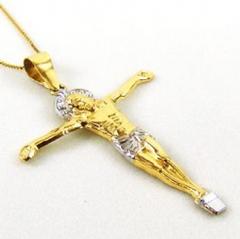 Crucifixo 2 cores em ouro 18k