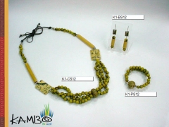 Conjunto 12   açaí, bambú, pedra feldispato, jupaty e cordonê