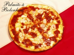 Pizza palmito á bolonhesa