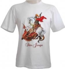 Camiseta estampa s�o jorge em puff quadricromia