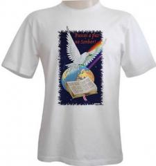 Camiseta estampa tema evangélica arco íris