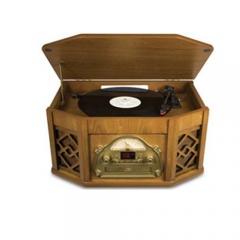 Tocador de discos 4 em 1: lp, cd, fita k7, am/fm - bivolt - ion - design 1920 - retrô
