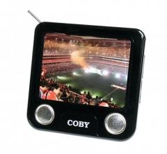 Tv portátil digital 3.5 polegadas e rádio fm - saída para fones de ouvido - autofalantes integrados - antena fm telescópica retrátil - suporte de mesa retrátil - adaptador de energia próprio - bateria interna