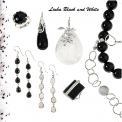 Joias da mar de prata coleção black & white