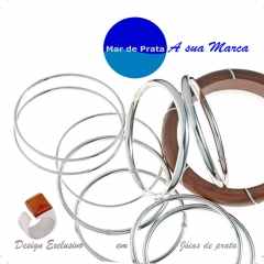 Bracecelete de prata e anel de ágata laranja da mar de prata